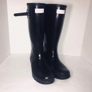 Hunter Black Original High Gloss Boot size 7